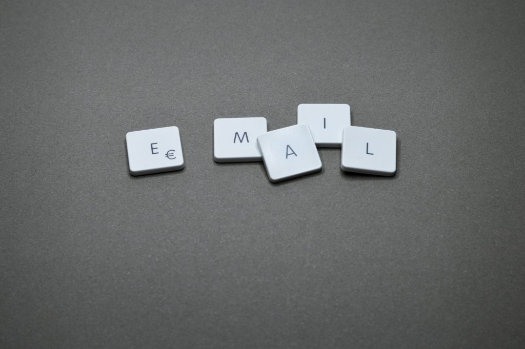 Image of keyboard keys spelling email